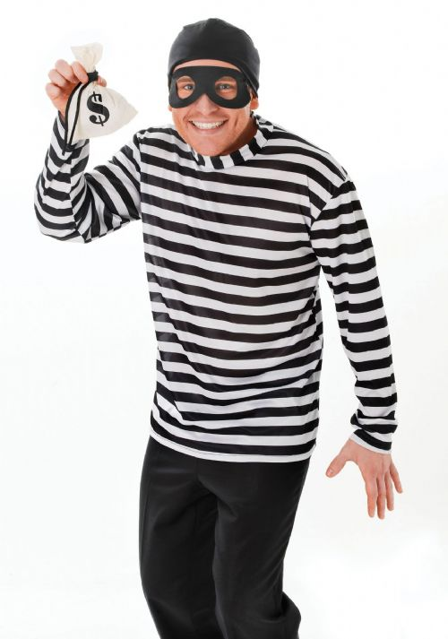 Mens Burglar Costume Theif Criminal Robber Law Fancy Dress Outfit